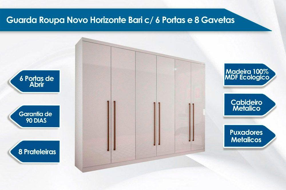 Quarto Casal Novo Horizonte QC04 (Guarda Roupa Bari + Cômoda Bello)