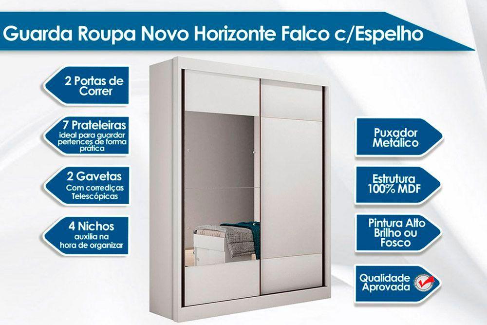 Quarto Solteiro Novo Horizonte QS01 (Guarda Roupa Falco + Cômoda Bello)