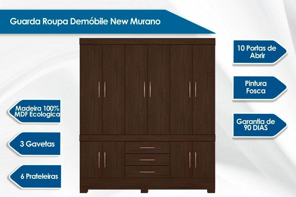 Quarto Casal Demóbile QC02 (Guarda Roupa New Murano + Cômoda London)