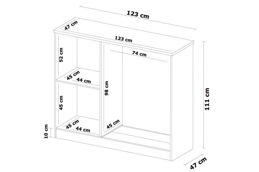 Quarto Casal Demóbile QC01 (Guarda Roupa Prático + Cômoda Aurora)