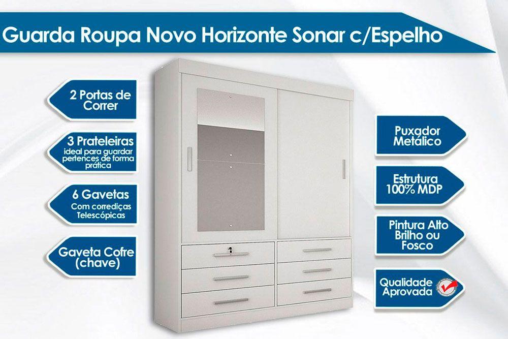 Quarto Solteiro Novo Horizonte QS03 (Guarda Roupa Sonare + Cama Solteiro Verona + Colchão Ortobom D33)