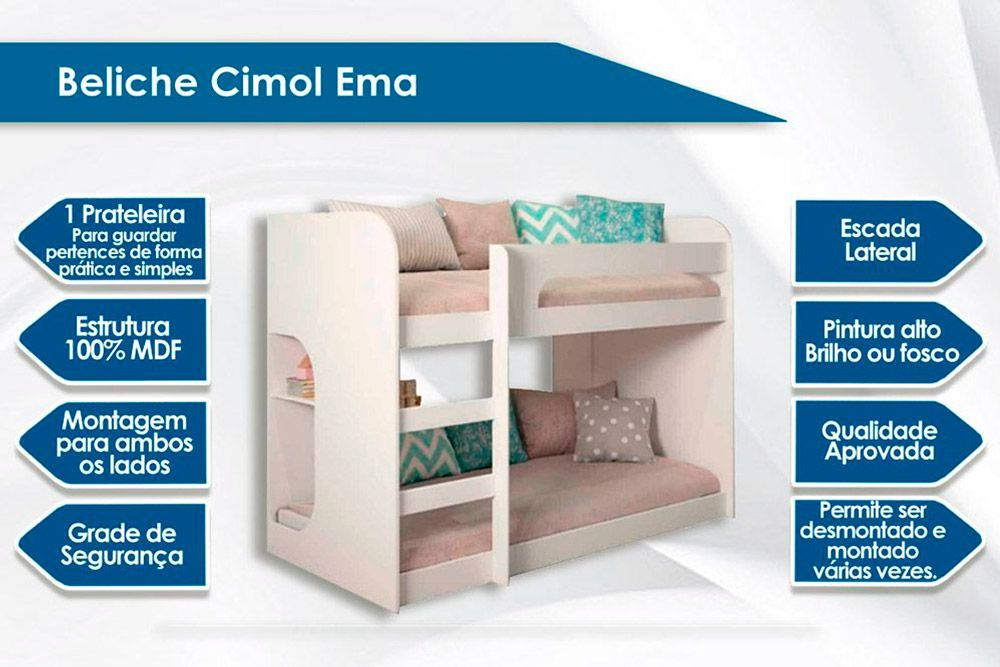 Beliche Cimol Ema + 2 Colchões Ortobom D33 Light Saúde