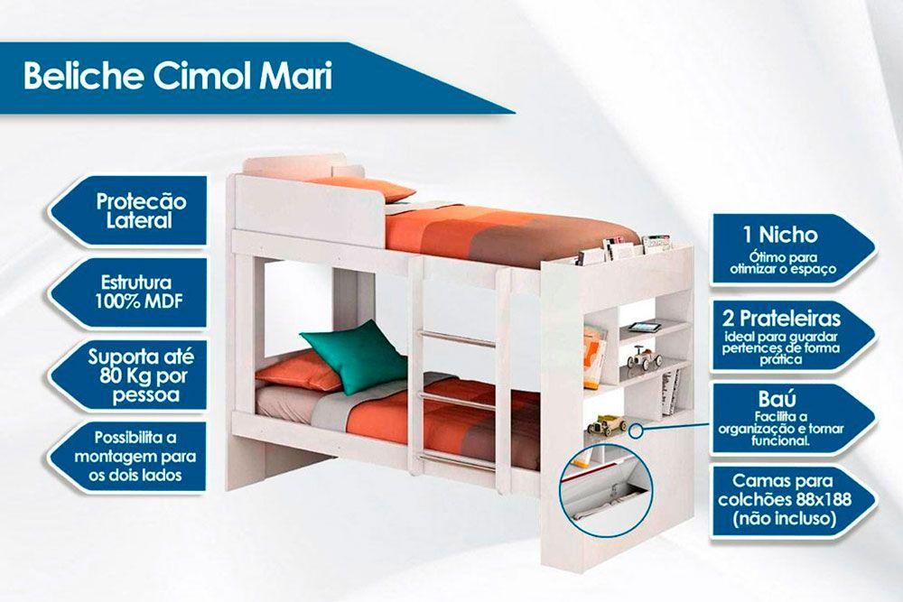 Beliche Cimol Mari + 2 Colchões Ortobom D33 Light Saúde