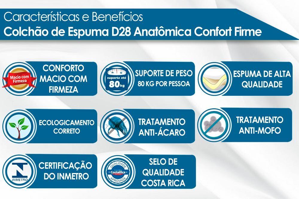 Cabeceira Box Casal Conquista Roma + Cama Box Nobuck Cinza c/ Colchão Paropas D28 Conforto Firme