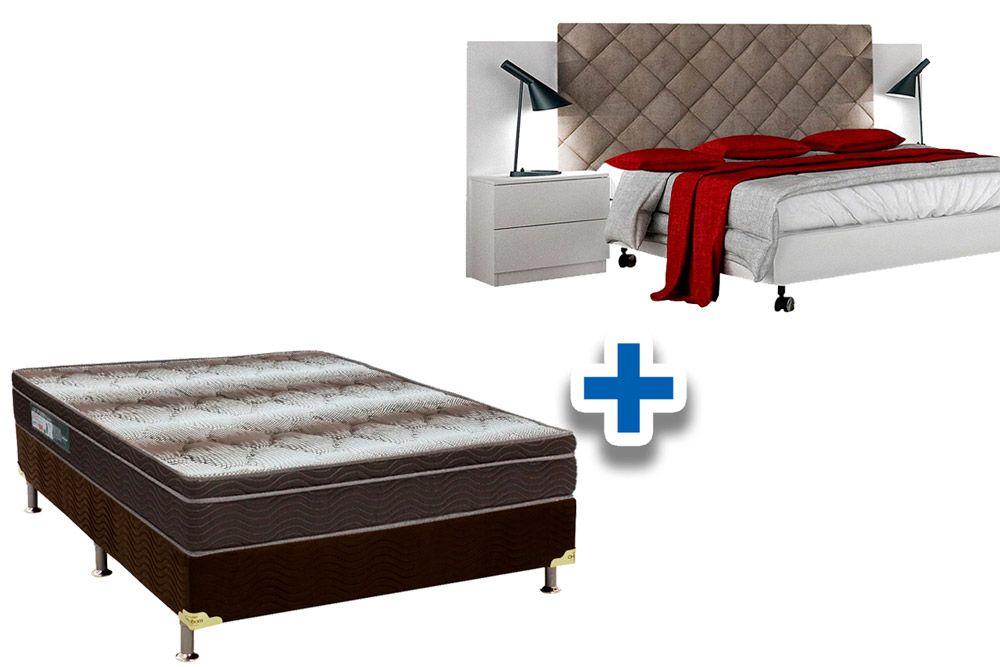 Cabeceira Box Casal Novo Horizonte Everest + Cama Box Universal CRC + Colchão Ortobom Ortopédico Light OrtoPillow