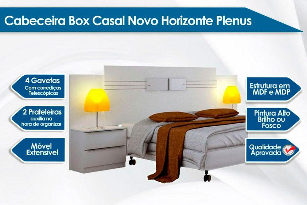 Cabeceira Box Casal Novo Horizonte Plenus + Cama Box Nobuck Café c/ Colchão Ortobom Ortopédico Light OrtoPillow