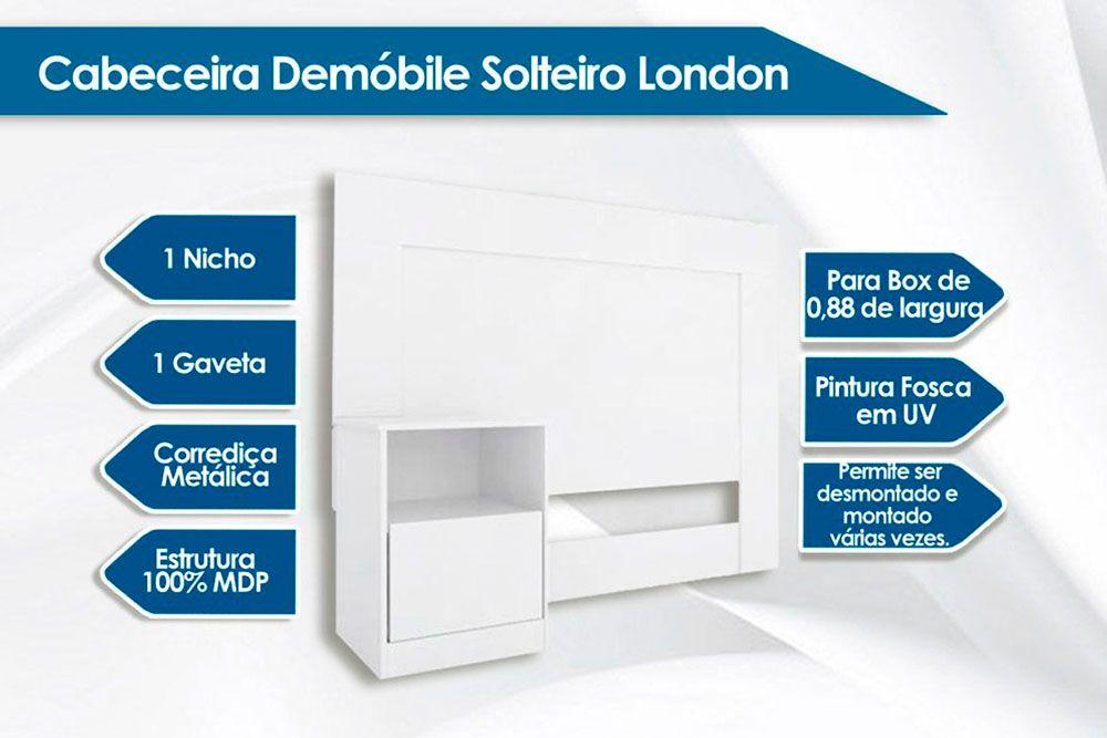 Cabeceira Box Solteiro Demóbile London + Cama Box Courino Nero c/ Colchão de Molas Paropas Olímpia