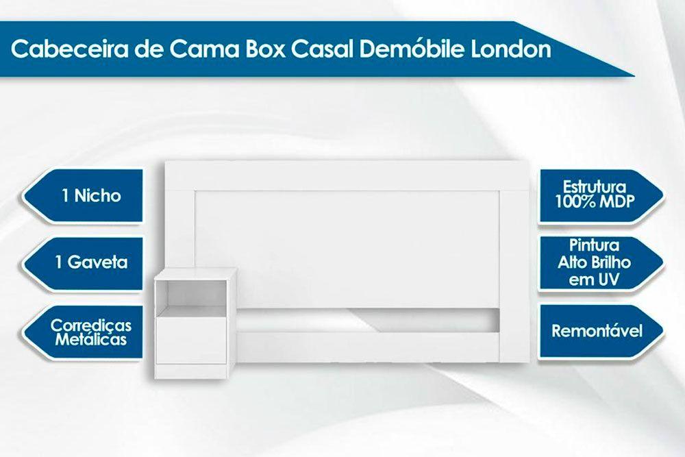 Cabeceira Box Casal Demóbile London + Cama Box Courino Nero c/ Colchão de Molas Paropas Olímpia