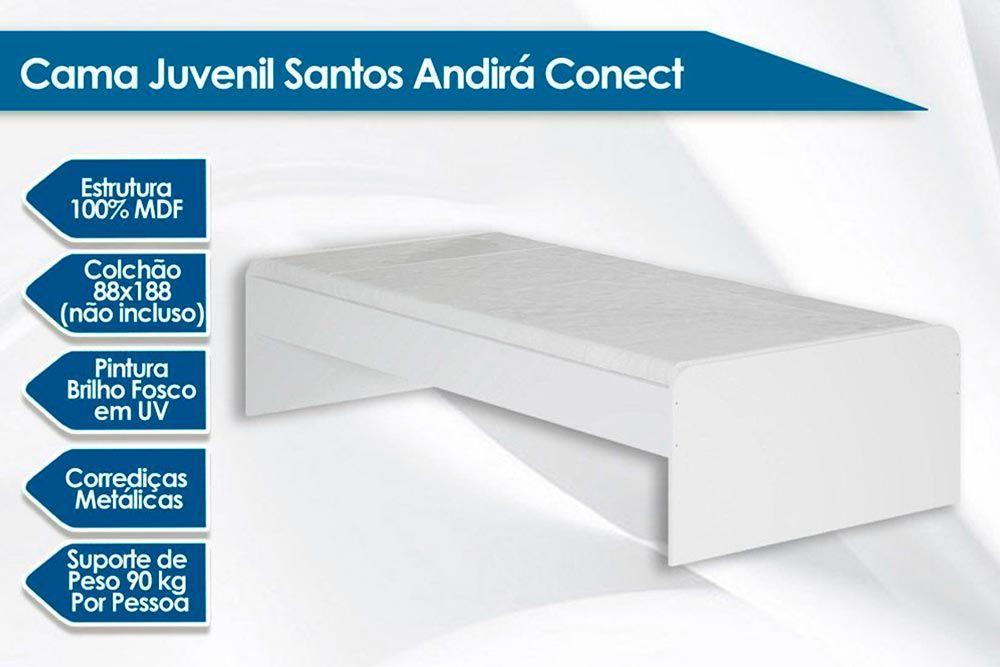 Cama Juvenil Solteiro Santos Andirá + Colchão Ortobom Light Saúde D33