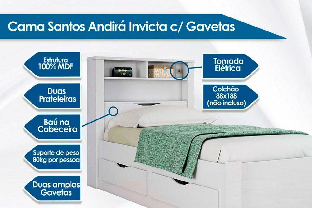 Cama Juvenil Santos Andirá Invicta c/ 2 Gavetas + Colchão Ortobom Light Saúde D33