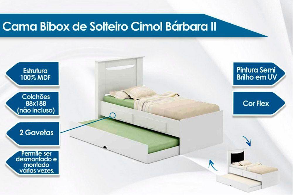 Cama Bibox Solteiro Cimol Bárbara II + 2 Colchões Ortobom D33 Light Saúde
