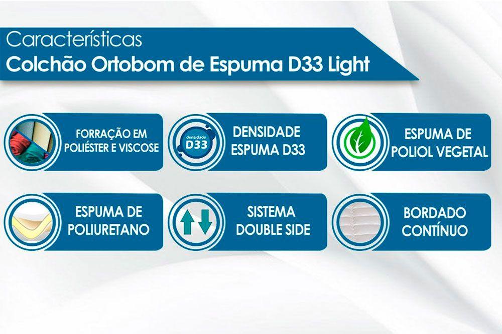 Cama Bibox Solteiro Cimol Elza + 2 Colchões Ortobom Light Saúde D33