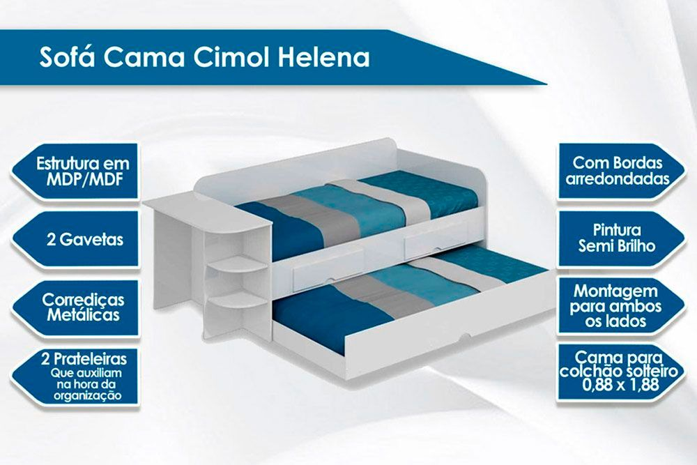 Sofá Cama Cimol Helena + 2 Colchões Ortobom Light Saúde D33
