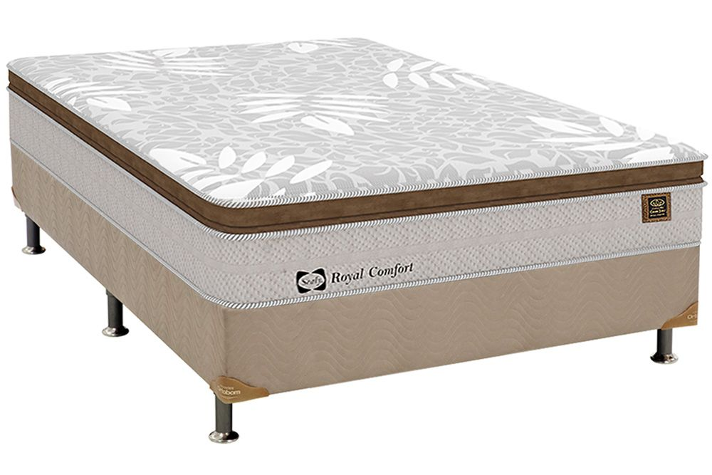 Conjunto Cama Box - Colchão Sealy de Molas Posturepedic Royal Comfort Plus + Cama Box Camurça Bege Crema