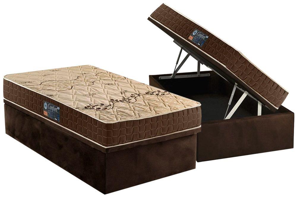 Conjunto Box Baú - Colchão Anjos de Espuma D28 Confort + Cama Box Baú Nobuck Café