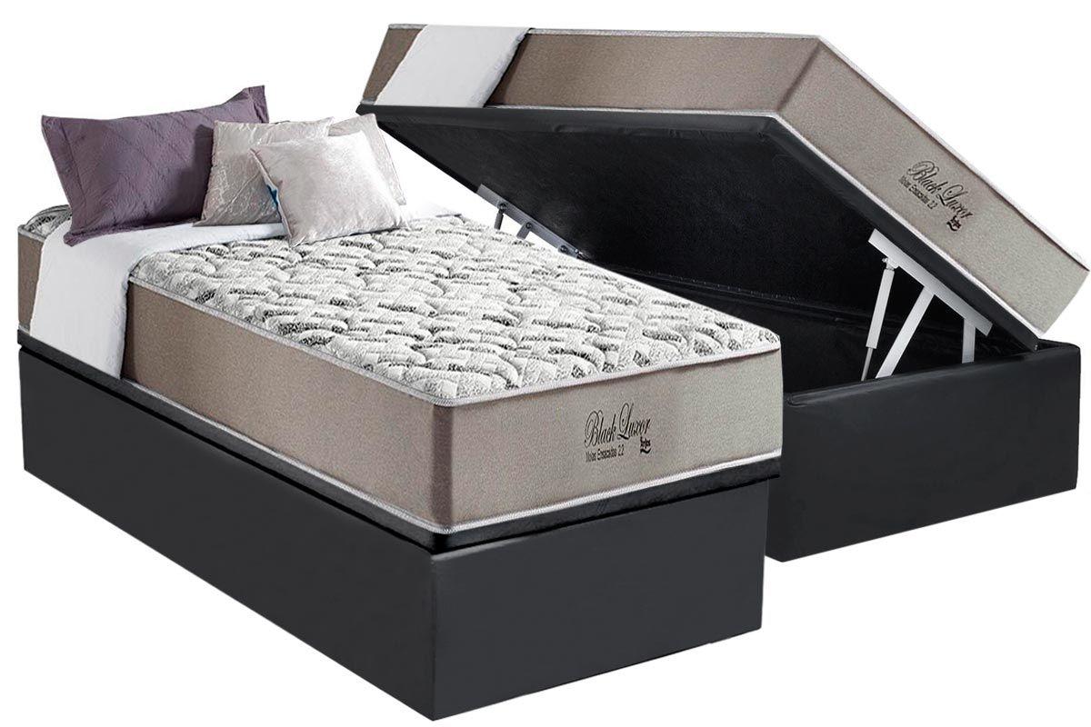 Conjunto Box Baú - Colchão Molas Pocket Anjos Black Luxor Pillow In + Cama Box Baú Cinza