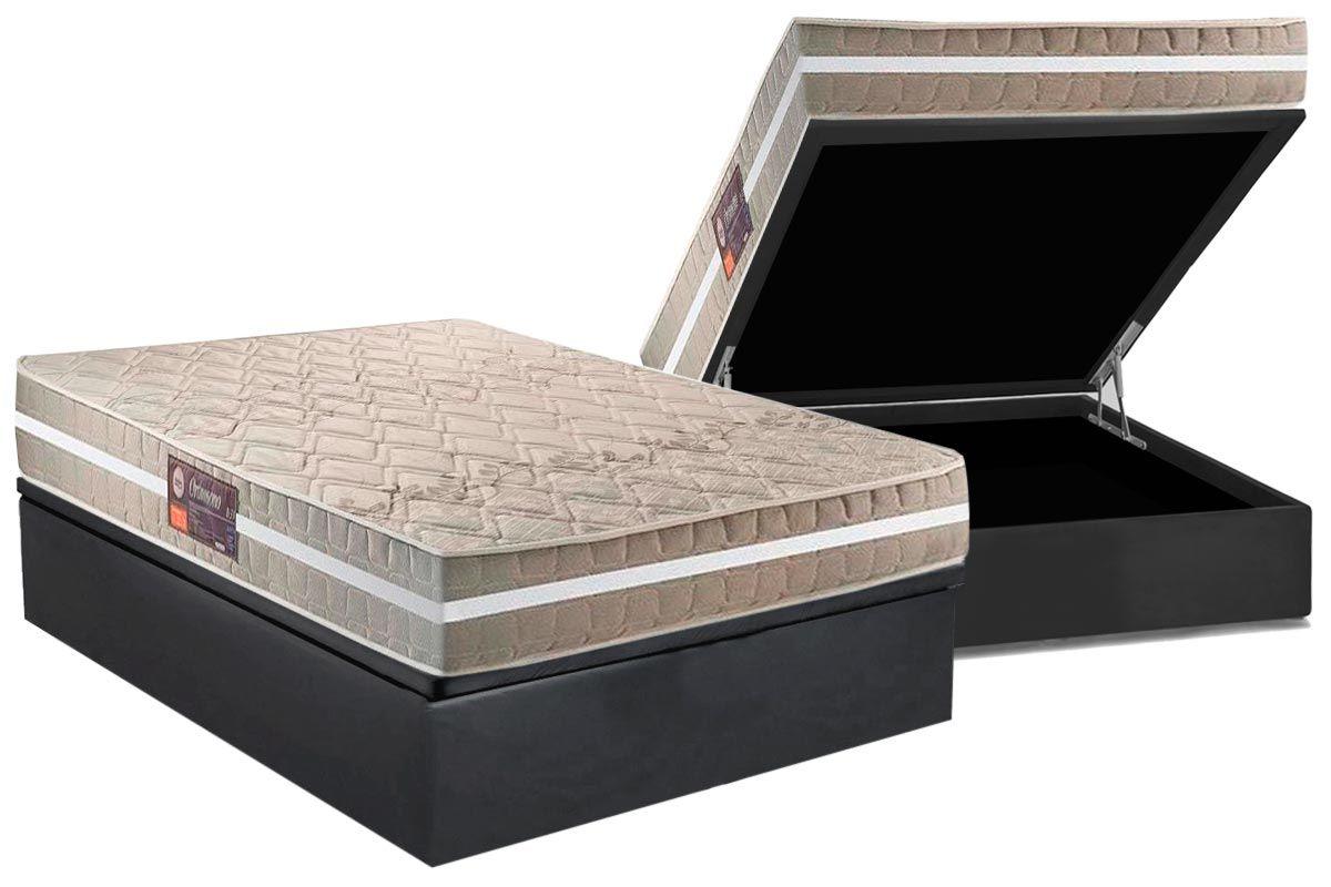 Conjunto Box Baú - Colchão Espuma D33 Anjos Orthosono One Dual Face 22cm + Cama Box Baú Nobuck Cinza