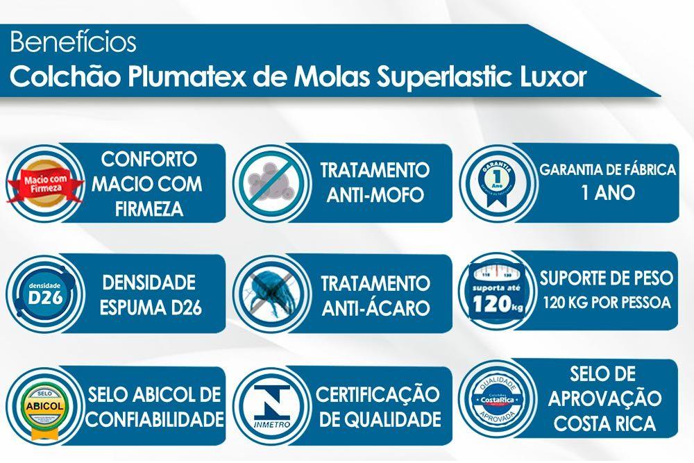 Conjunto Cama Box - Colchão Plumatex de Molas Superlastic Luxor + Cama Box Plumatex Luxor