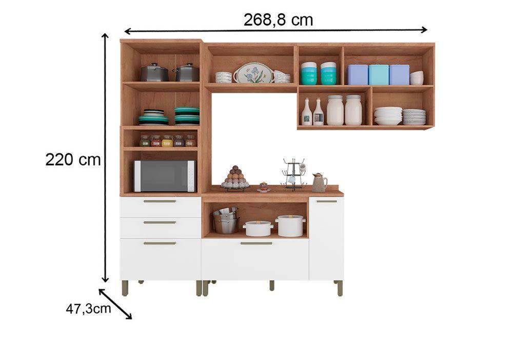 Cozinha Completa Ronipa Marsala c/ 3 Peças (Paneleiro + Aéreo + Balcão)