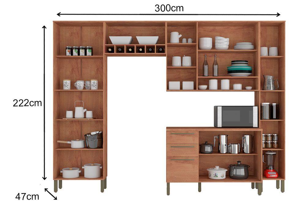 Cozinha Completa Ronipa Napoli Prime c/ 5 Peças (2 Paneleiros + 2 Aéreos + Balcão)