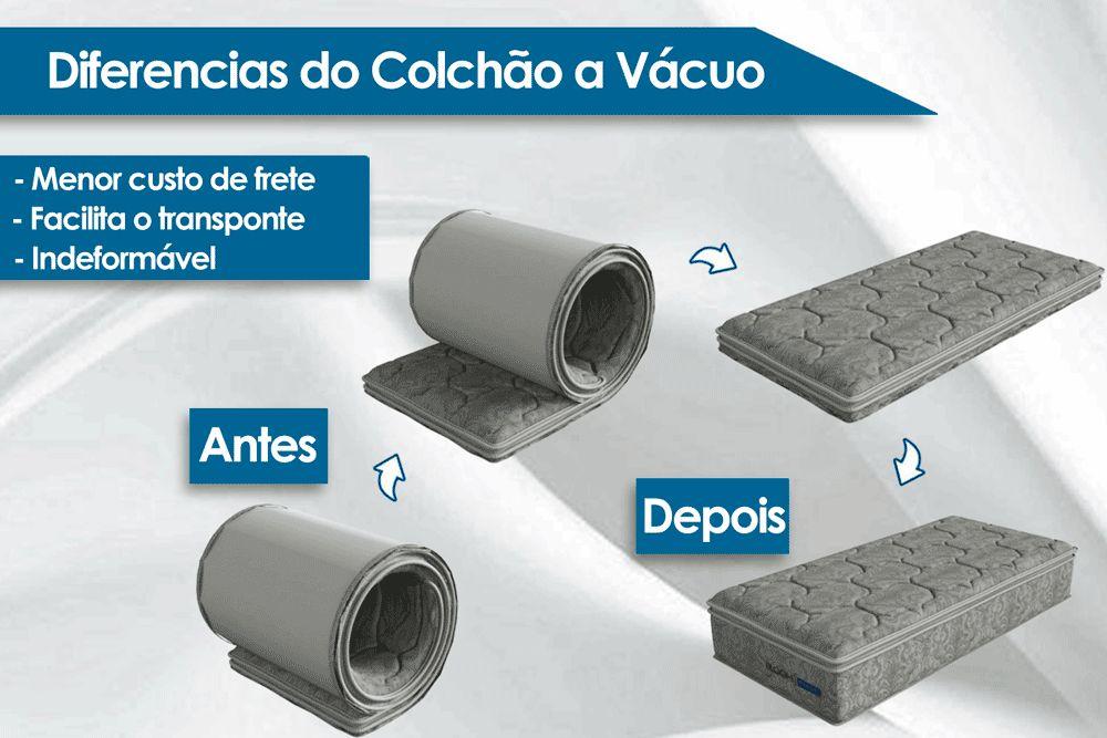 Conjunto Cama Box - Colchão Probel de Molas Pocket Ensacadas Bloom In The Box Vacumm Pillow Top + Cama Box Universal Couríno White