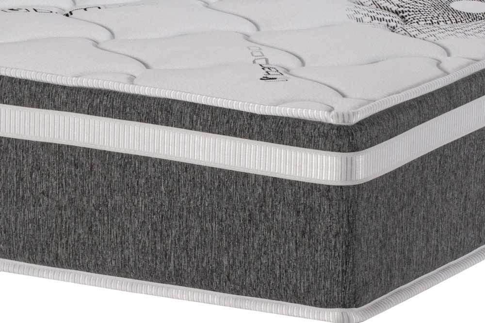 Conjunto Cama Box + Colchão Polar Espuma D33 Pérola Premium Fort Gray