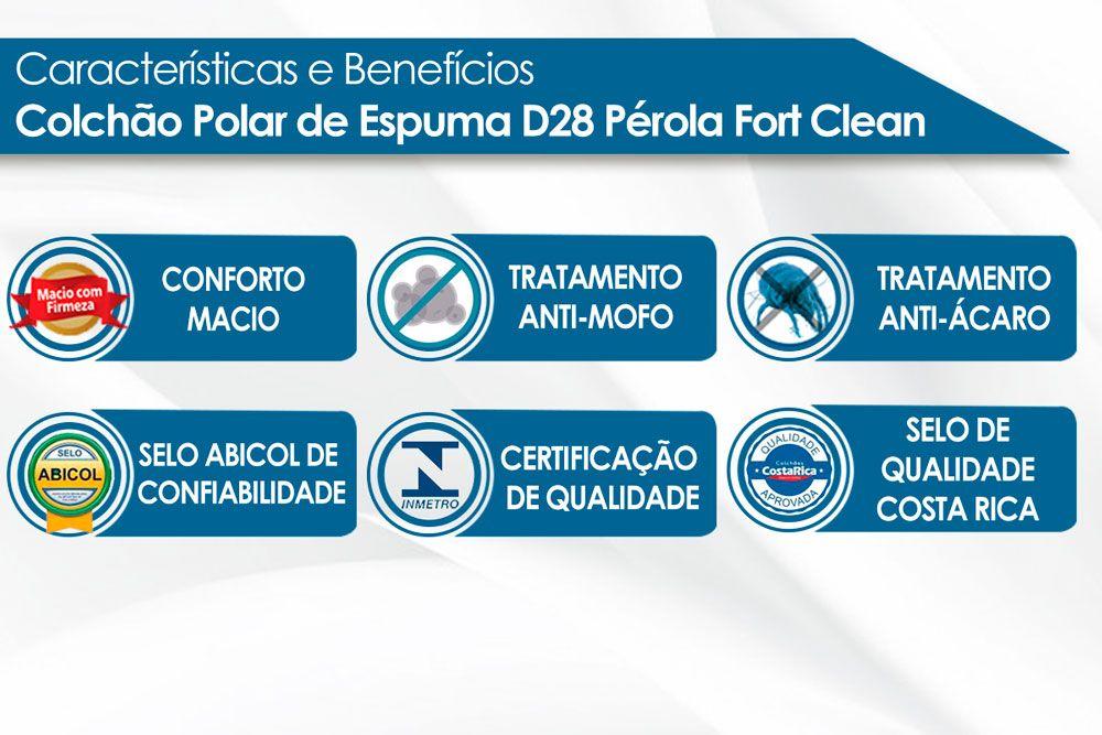 Conjunto Cama Box + Colchão Polar Espuma D28 Pérola Clean 014