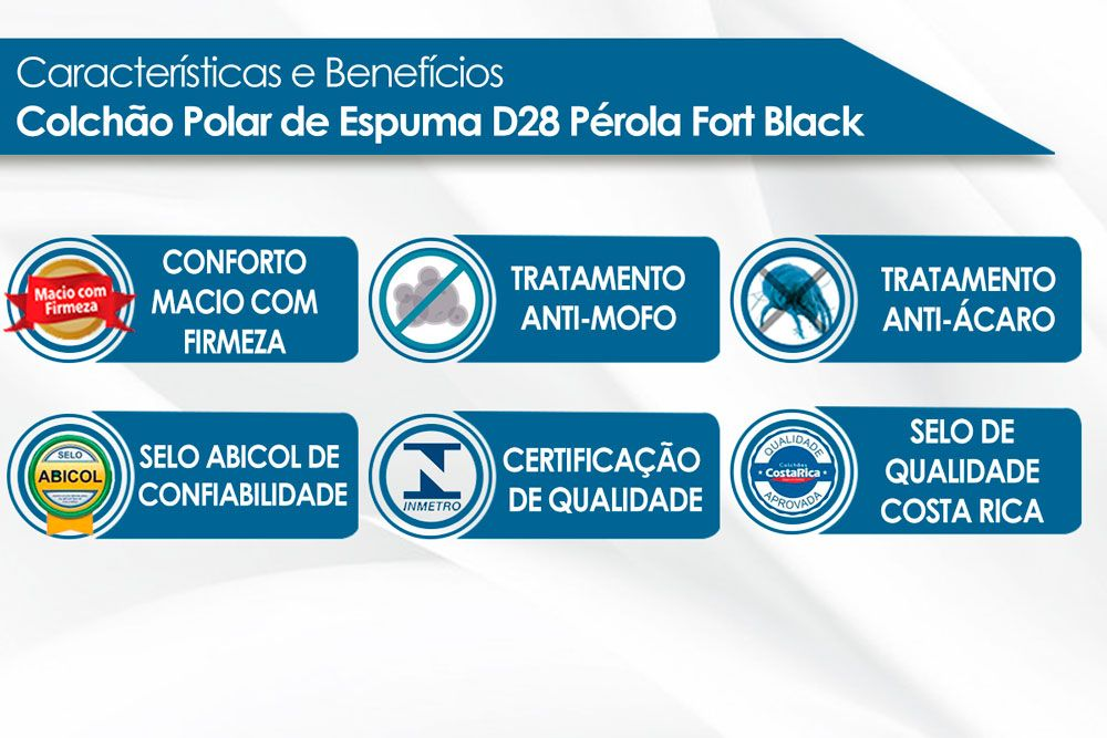Conjunto - Cama Box + Colchão Polar Espuma D28 Pérola Black 020