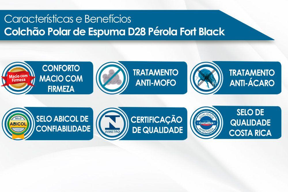 Conjunto Cama Box + Colchão Polar Espuma D28 Pérola Black 014