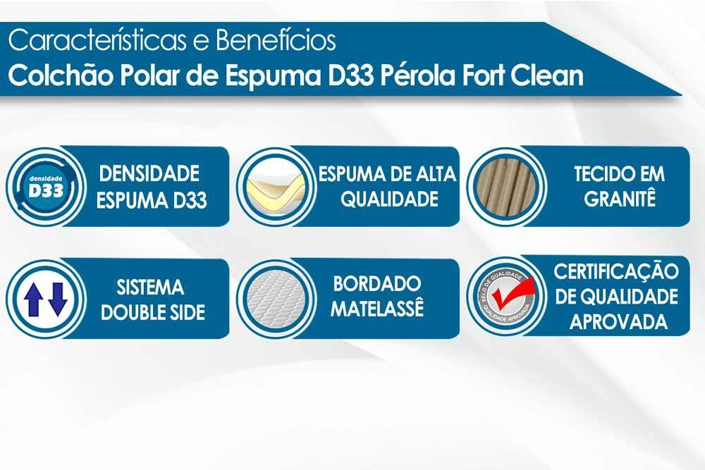 Conjunto - Bicama Box + Colchão Polar Espuma D33 Pérola Clean 017