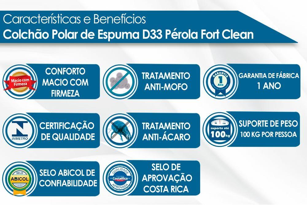 Conjunto Baú - Colchão Polar de Espuma D33 Pérola Class Clean 14cm + Cama Box Baú Universal CRC Camurça Clean