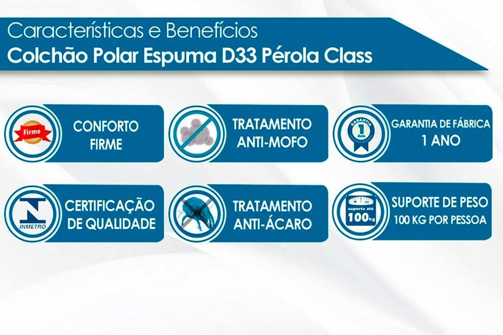 Conjunto - Bicama Box + Colchão Polar Espuma D33 Pérola Clean 014