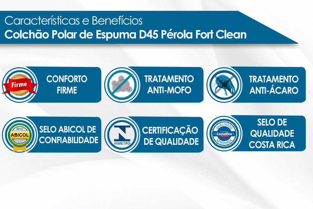 Conjunto Baú - Colchão Polar D45 Pérola + Cama Box Baú Universal CRC Camurça Clean