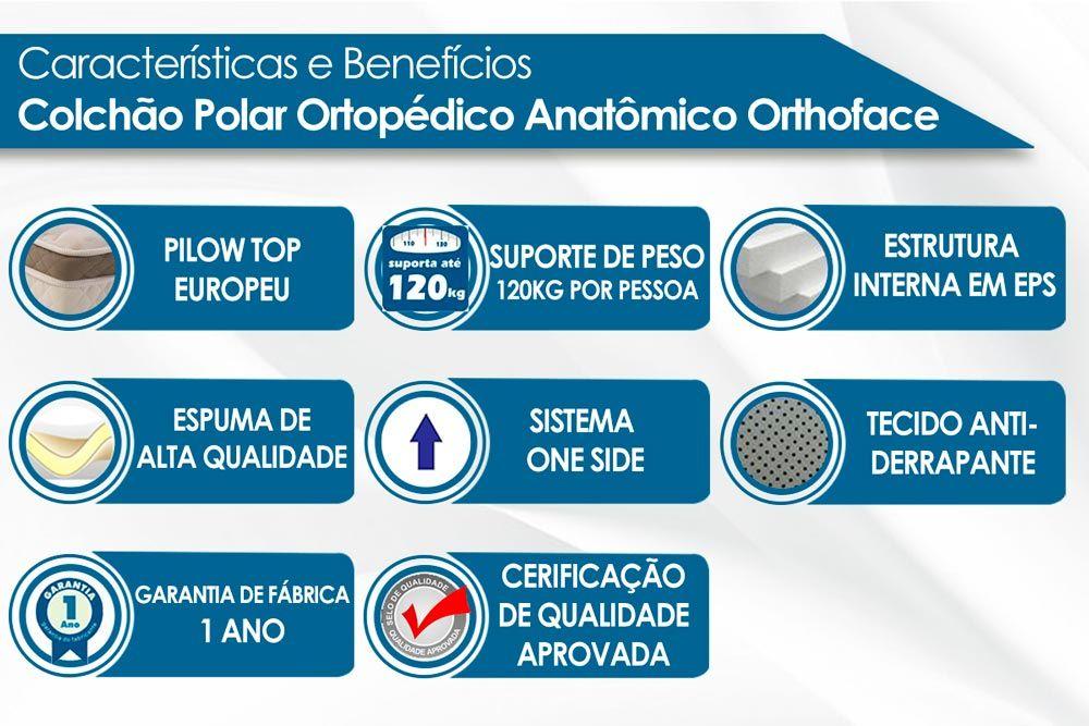 Conjunto Baú - Colchão Polar Espuma Ortopédica Orthoface Class Brown + Cama Box Baú Universal CRC Camurça Clean
