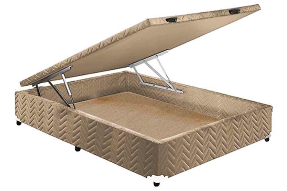 Conjunto Baú - Colchão Polar Molas Superlastic Jasmim + Cama Box Universal CRC Camurça Clean