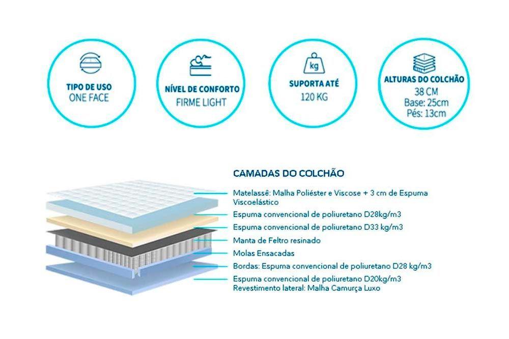 Conjunto Baú - Colchão Polar Molas Pocket Garnet + Cama Box Universal CRC Courino White