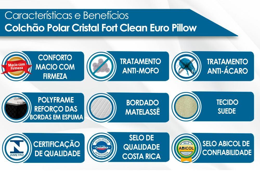 Conjunto Baú - Colchão Polar Molas Pocket Cristal + Cama Box Baú Universal CRC Camurça Clean