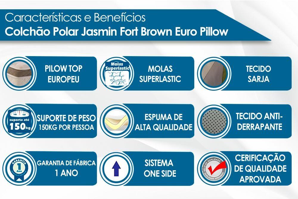 Conjunto Baú - Colchão Polar Molas Superlastic Jasmim + Cama Box Baú Universal CRC Camurça Brown