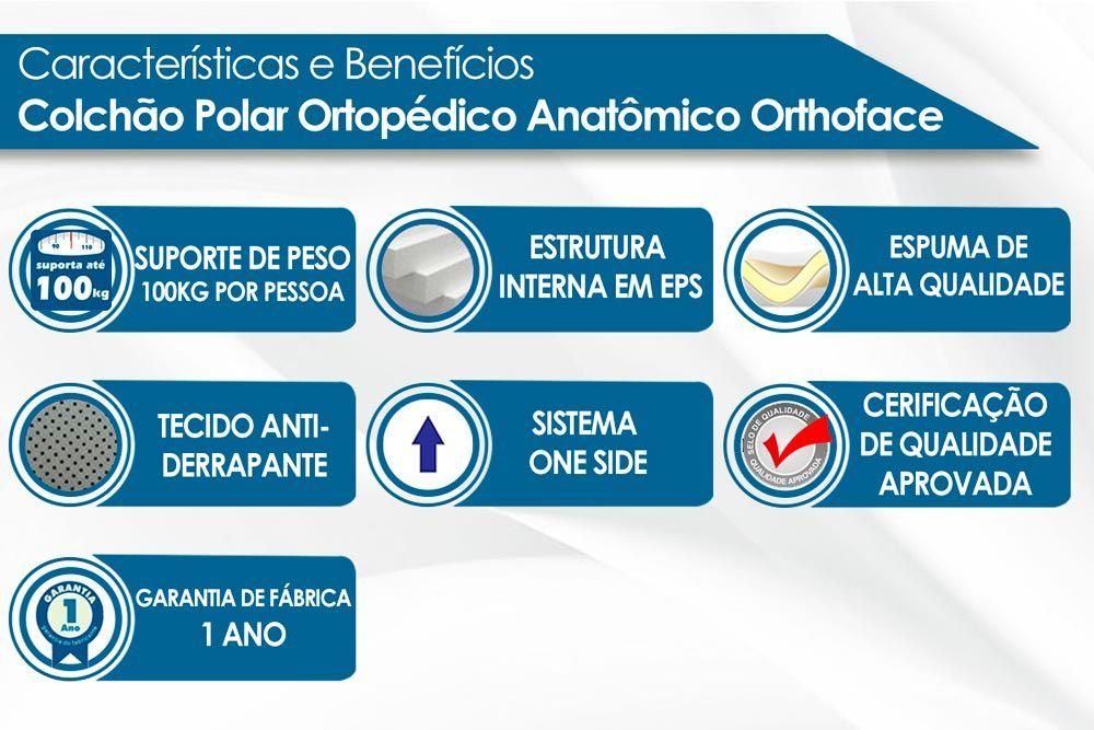 Conjunto Baú - Colchão Polar Espuma Ortopédica Orthoface Class Clean + Cama Box Universal CRC Camurça Clean