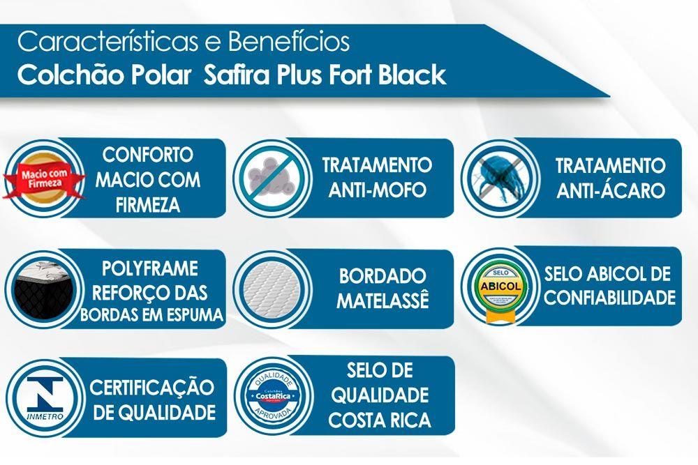 Conjunto Baú - Colchão Polar Molas Superlastic Gold Safira Black + Cama Box Baú Universal CRC Black