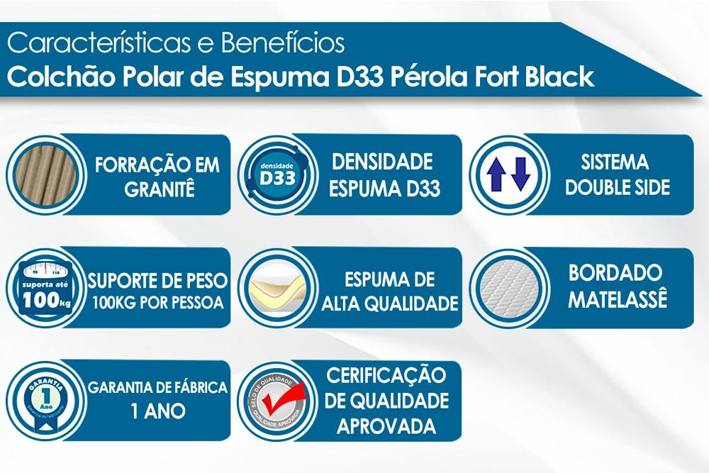 Conjunto - Cama Box + Colchão Polar Espuma D33 Pérola Black 017