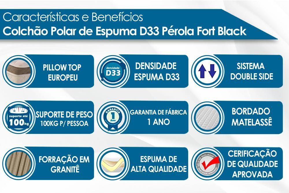 Conjunto - Bicama Box + Colchão Polar Espuma D33 Pérola Black 024