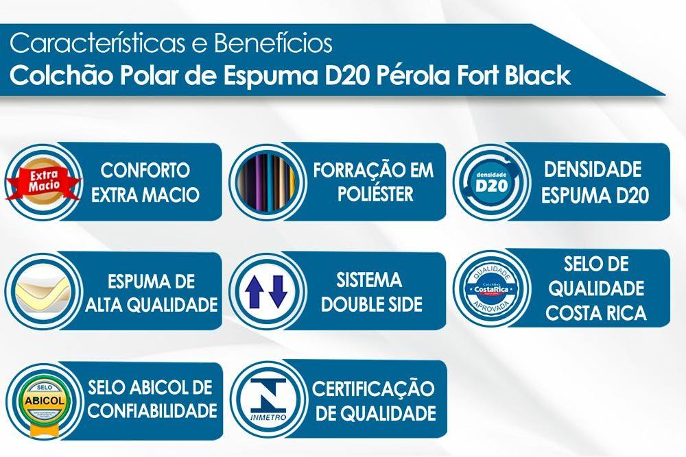 Conjunto - Cama Box + Colchão Polar Espuma D20 Pérola Black 012