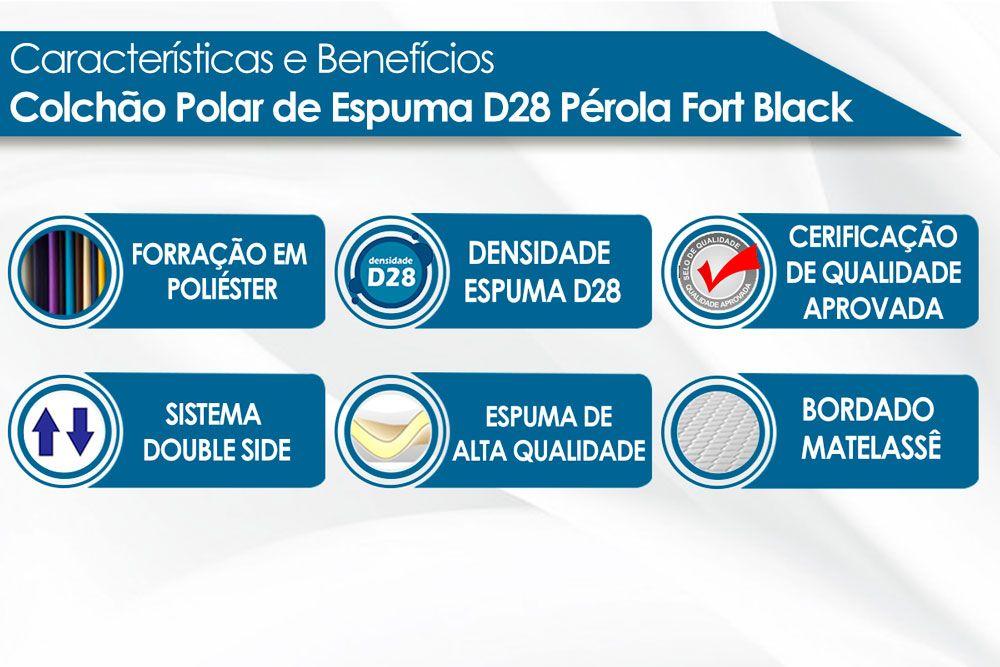 Conjunto Baú - Colchão Polar D28 Pérola Class Black 17cm + Cama Box Baú Universal CRC Camurça Black