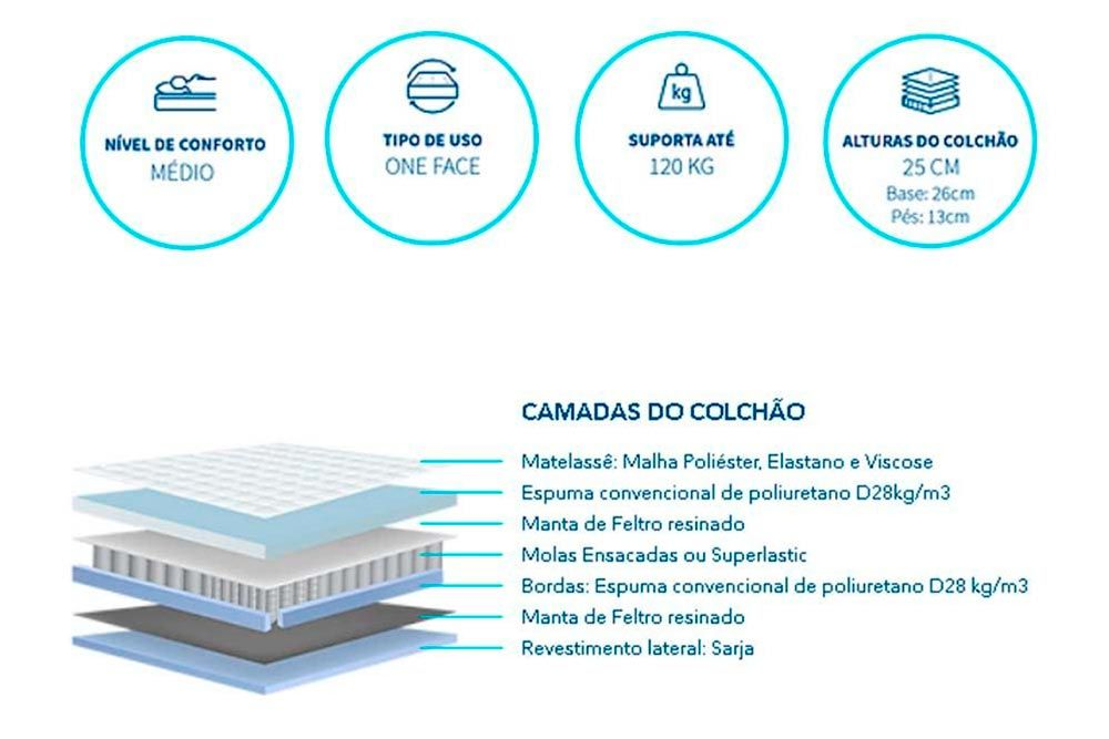 Conjunto Baú - Colchão Polar Molas Pocket Safira Plus Clean + Cama Box Baú Universal CRC Camurça Clean