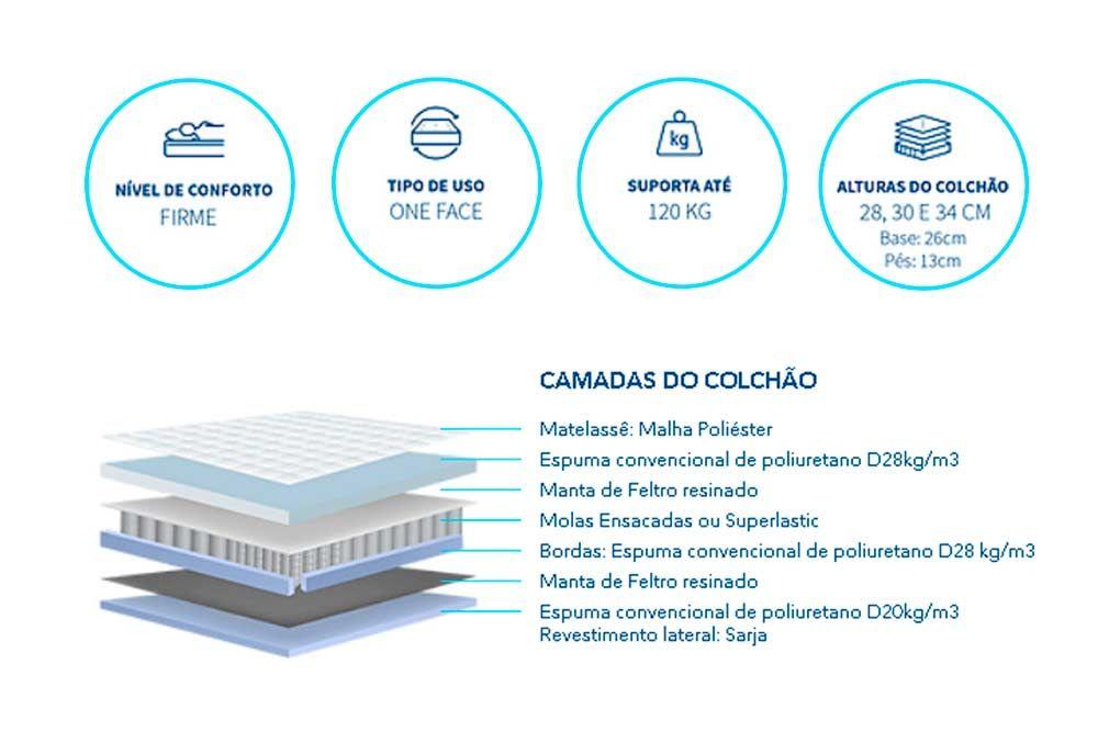 Conjunto Baú - Colchão Polar Pocket Sporting + Cama Box Baú Universal CRC Camurça Grey