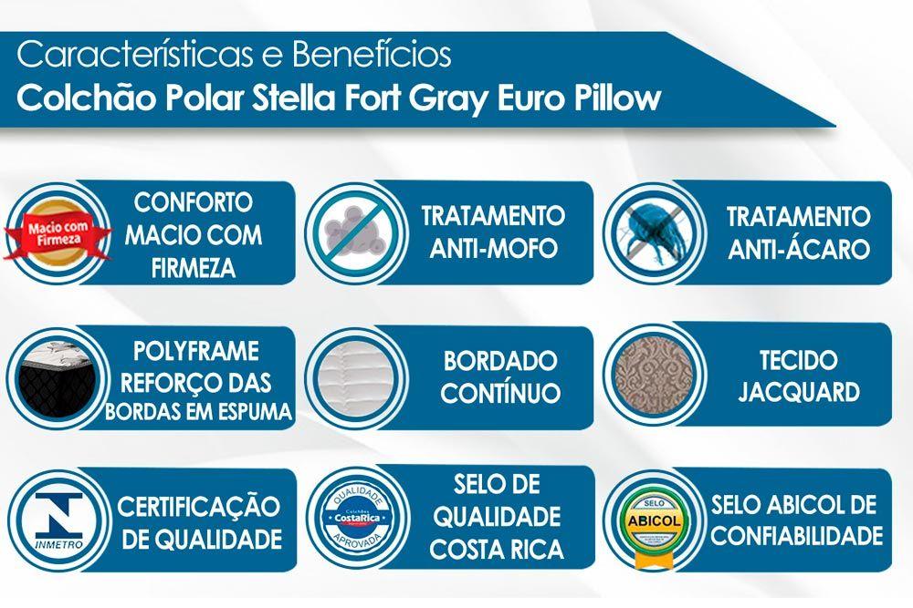 Conjunto Baú - Colchão Polar Molas Pocket Gold Stella + Cama Box Baú Universal CRC Camurça Grey