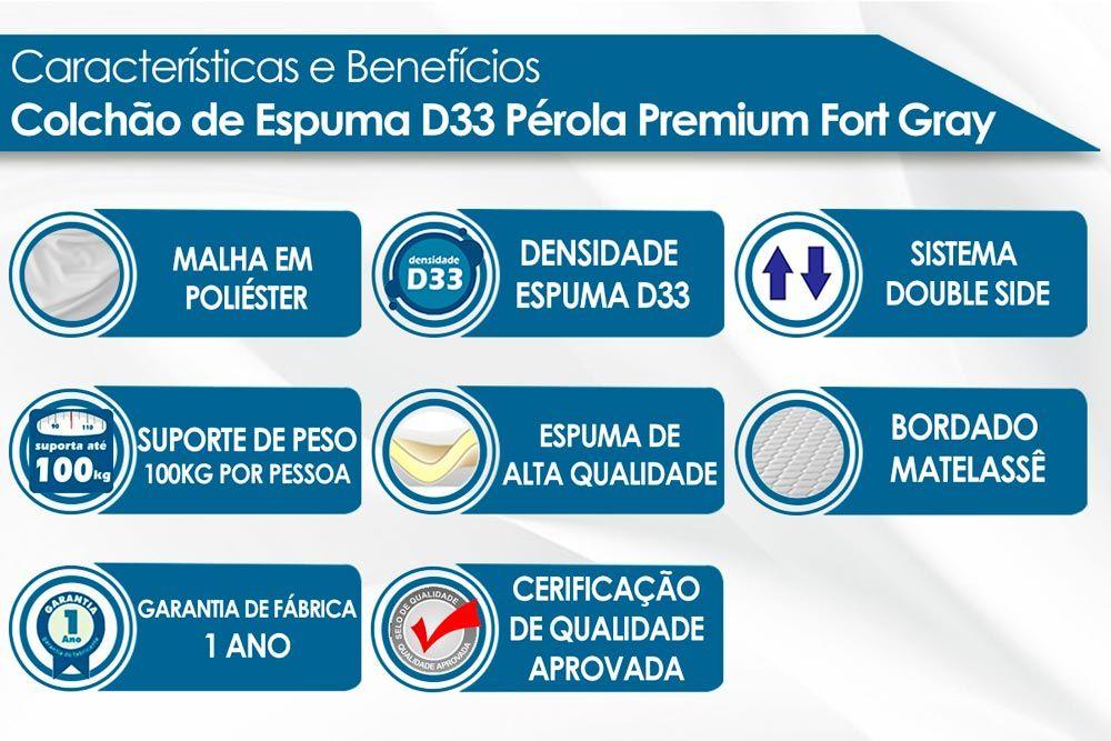 Conjunto - Cama Box + Colchão Polar Espuma D33 Pérola Premium Fort Gray