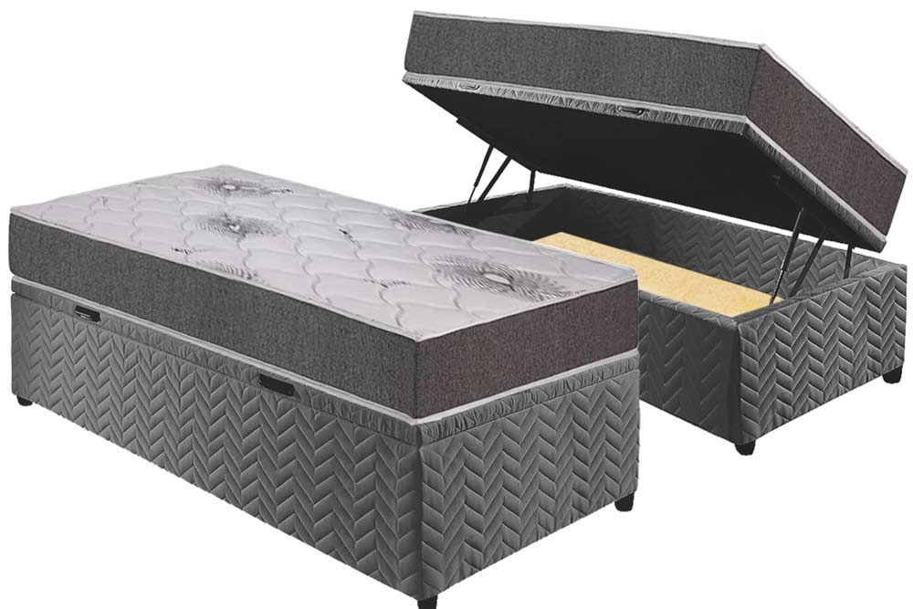 Conjunto Baú - Colchão Polar Espuma D33 Pérola Premium Fort Gray + Cama Box Baú Universal CRC Camurça Grey