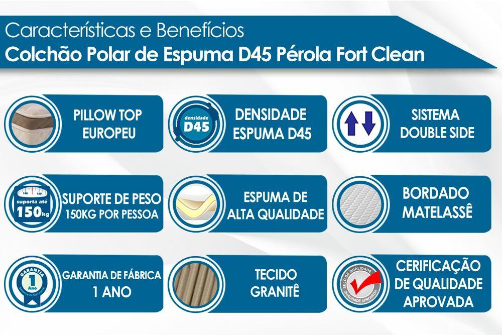 Conjunto - Cama Box + Colchão Polar Espuma D45 Pérola Fort Clean
